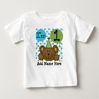 名前入りなテディー・ベアの第1誕生日のTシャツ ベビーTシャツ