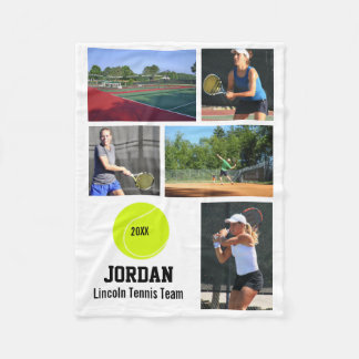名前入りなテニス5の写真のコラージュの名前年 フリースブランケット