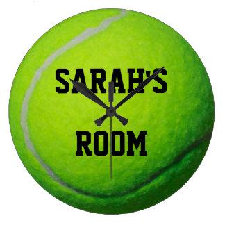 名前入りなテニス・ボールの大きい柱時計 ラージ壁時計