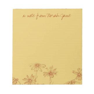 名前入りなデイジーの野生の花のセピア色インク引くこと ノートパッド