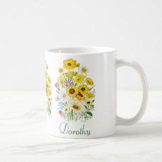 名前入りなデイジー コーヒーマグカップ