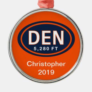 名前入りなデンバーCO 5,280のFTのフットボールのオーナメント メタルオーナメント