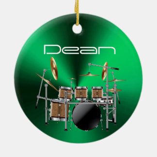 名前入りなドラマーの音楽的なクリスマスのオーナメント セラミックオーナメント