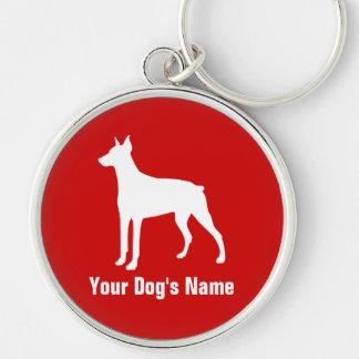 名前入りなドーベルマン犬のドーベルマン シルバーカラー丸型キーホルダー