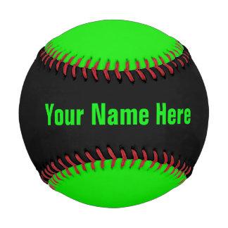 名前入りなネオン緑および黒い野球 ベースボール