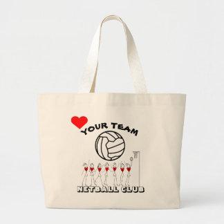 名前入りなネットボールのチームプレーヤーおよび球のロゴ ラージトートバッグ