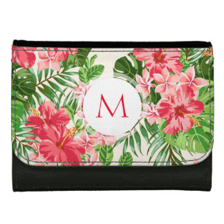 名前入りなハイビスカスの花のモノグラムの財布