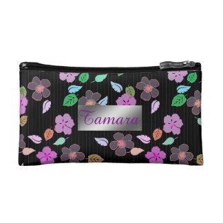 名前入りなハイビスカスの花柄の化粧品のバッグ コスメティックバッグ