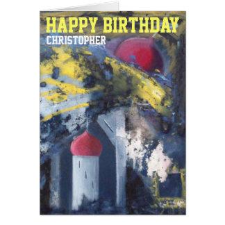 名前入りなハッピーバースデーの近代美術カード カード