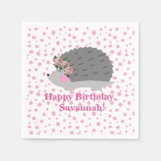 名前入りなハリネズミの誕生日のナプキン スタンダードカクテルナプキン