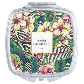 名前入りなハワイのはっきりしたなプルメリアの花柄