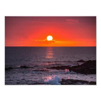 名前入りなハワイのビーチの海の熱帯日没 フォトプリント