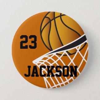 名前入りなバスケットボールたがのデザイン 缶バッジ