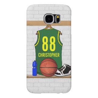 名前入りなバスケットボールのジャージーの緑の黄色 SAMSUNG GALAXY S6 ケース