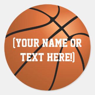 名前入りなバスケットボールの円のステッカー ラウンドシール
