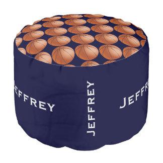 名前入りなバスケットボールのPoufのクッションの座席青 プーフ