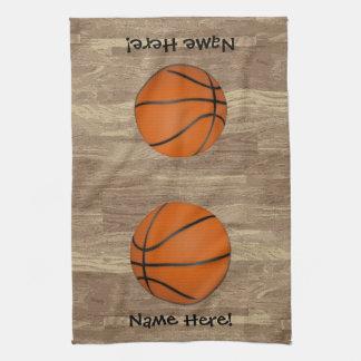 名前入りなバスケットボール木床 キッチンタオル