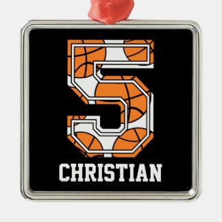 名前入りなバスケットボール第5 メタルオーナメント