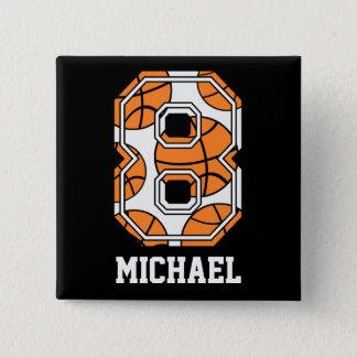 名前入りなバスケットボール第8 5.1CM 正方形バッジ