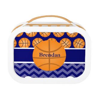 名前入りなバスケットボール青いシェブロン ランチボックス