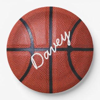 名前入りなバスケットボール ペーパープレート