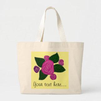 名前入りなバラのデザインのジャンボトート ラージトートバッグ