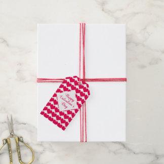 名前入りなバレンタインデーの赤いハートパターン ギフトタグ