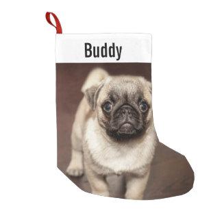 名前入りなパグ犬の写真およびあなたのパグ犬の名前 スモールクリスマスストッキング