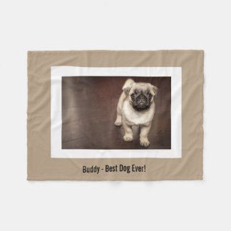 名前入りなパグ犬の写真およびあなたのパグ犬の名前 フリースブランケット