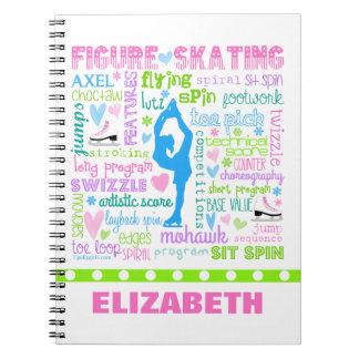 名前入りなパステル調のフィギュアスケート選手はタイポグラフィを言い表わします ノートブック