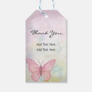 名前入りなパステル調の蝶ピンクのギフトの好意 ギフトタグ