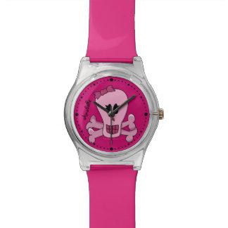 名前入りなパンクのガーリーなピンクのどくろ印 腕時計