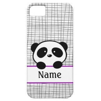 名前入りなパンダくまの紫色のiPhone 5の箱 iPhone SE/5/5s ケース