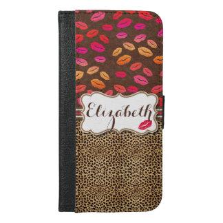 名前入りなヒョウのプリントの唇のキス iPhone 6/6S PLUS ウォレットケース