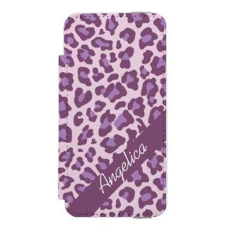 名前入りなヒョウのプリントの紫色のラベンダーの箱 INCIPIO WATSON™ iPhone 5 ウォレット ケース