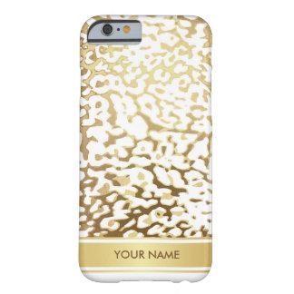 名前入りなヒョウの皮のホワイトゴールドの魅力の箱 BARELY THERE iPhone 6 ケース