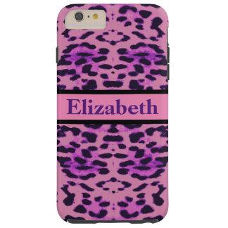 名前入りなヒョウの紫色のラインストーン TOUGH iPhone 6 PLUS ケース
