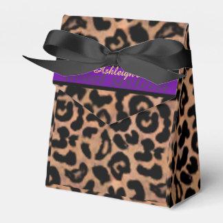 名前入りなヒョウのPattの紫色のストライプの菓子16 フェイバーボックス