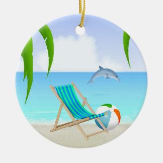名前入りなビーチのおもしろいのイルカの休日のクリスマス セラミックオーナメント