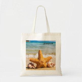名前入りなビーチのヒトデそして貝殻 トートバッグ