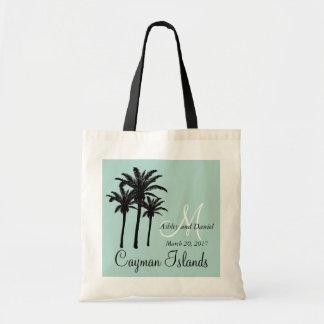 名前入りなビーチ結婚式のトートバックのヤシの木 トートバッグ