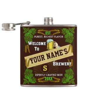 名前入りなビール醸造所の歓迎: ホツプのオオムギビール フラスク