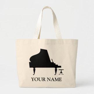 名前入りなピアノシルエットのTotebag音楽ギフト ラージトートバッグ