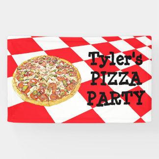 名前入りなピザパーティーの誕生会の旗 横断幕