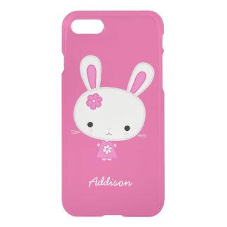 名前入りなピンクのかわいいのバニーのゆとりのiPhone 7の場合 iPhone 7ケース