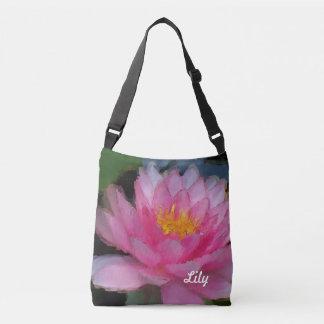 名前入りなピンクのはすの花のスイレン クロスボディバッグ