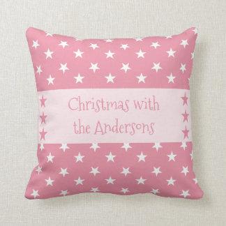 名前入りなピンクのクリスマスの星 クッション
