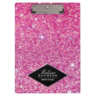 名前入りなピンクのグリッターおよび魅力の美しい クリップボード
