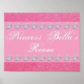 名前入りなピンクのグリッターのダイヤモンドのプリンセス部屋 ポスター