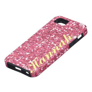 名前入りなピンクのグリッターIPhone5のvibeの場合 iPhone SE/5/5s ケース